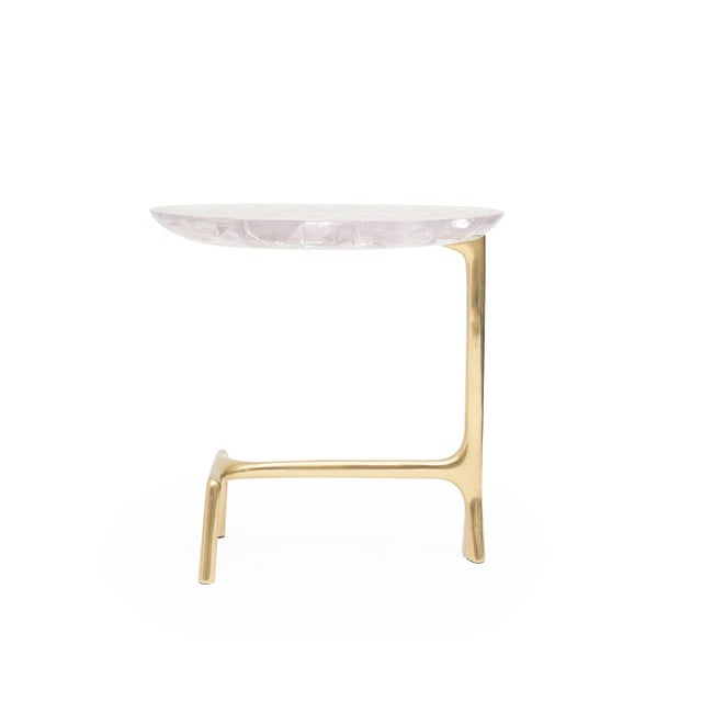 UOVO TABLE in Ice-Cracked Resin) by Sylvan San Francisco Material: Brass, Ice-Cracked Resin Color: Polished, Clear...