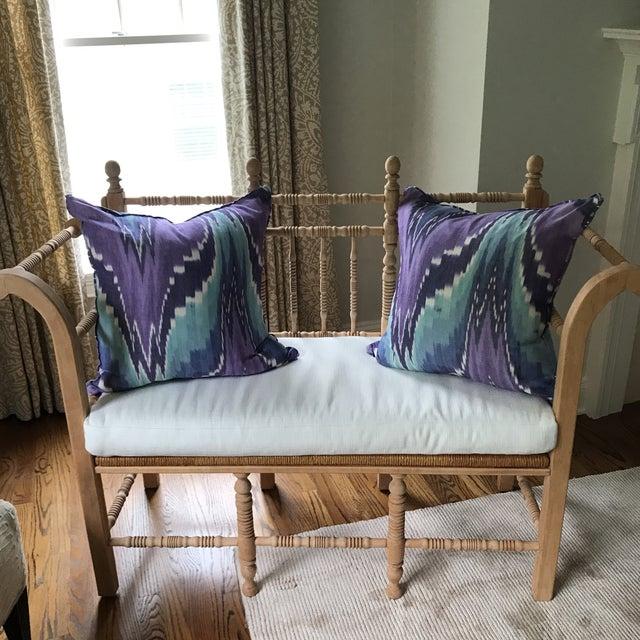 Ikat Butterfly Linen Pillows - A Pair - Image 3 of 9
