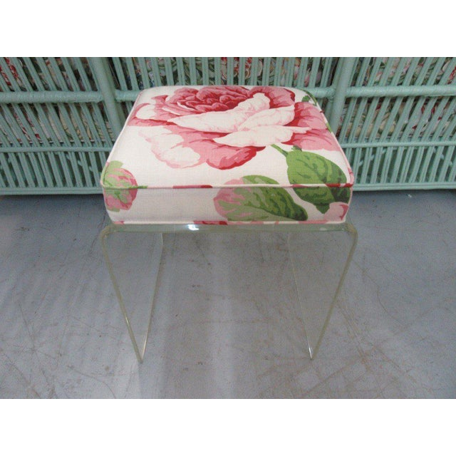 Upholstered Lucite Bench Stool - Image 5 of 5