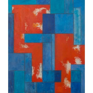 Contemporary Abstract Geometric Painting Blue and Orange For Sale