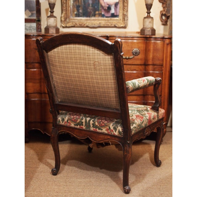 Burnt Umber 19th Century Walnut French Fauteuil For Sale - Image 8 of 9