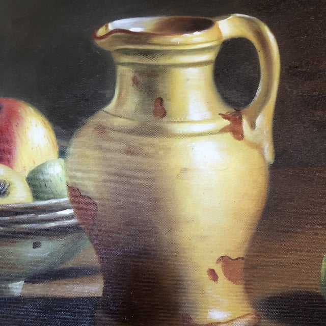 Traditional 1990s Vintage Apples & Pitcher Still Life Painting For Sale - Image 3 of 6