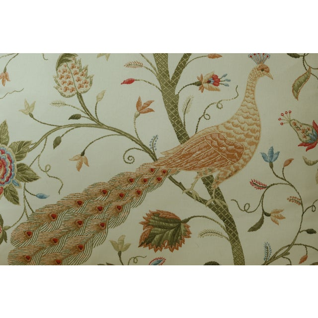 White Thomasville Decorator Upholstered Peacock Print French Chair For Sale - Image 8 of 11