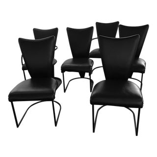 1960s Mid-Century Modern DIA Chairs Black Upholstered Wrough Iron Dining Chairs - Set of 6