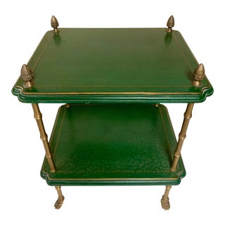 Regency Style Leather & Brass Faux Bamboo Side Table For Sale