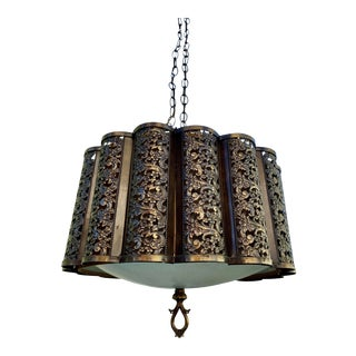 1950s Vintage Brass Swag Lamp For Sale