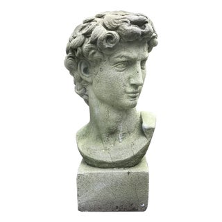 Vintage David Cast Concrete Garden Statuary Bust, Mid-20th C For Sale