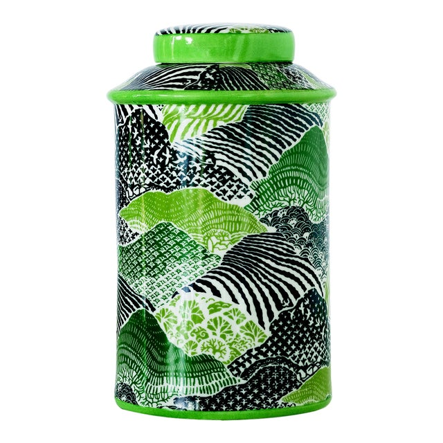 Madcap Cottage Green/Blue Porcelain Lidded Jar For Sale