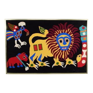 "1970s Mid-Century Modern Folk Art Framed ""Jungle Animals"" Mola Fabric For Sale"