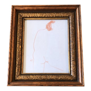 Original Vintage Abstract Nude Sepia Figure Drawing Vintage Frame 1970's For Sale