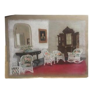 Vintage Original Impressionist Pastel Interior For Sale