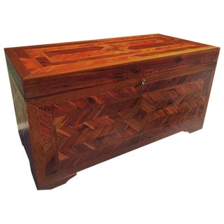 Primitive Inlaid Parquetry Blanket Chest