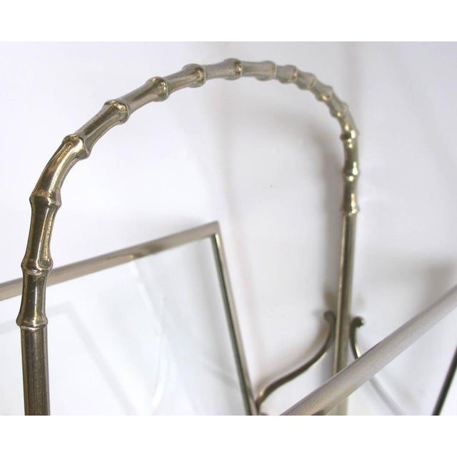 Mid-Century Modern Chic French Maison Bagues 1940s Chrome and Glass Faux Bamboo Magazine Rack For Sale - Image 3 of 5