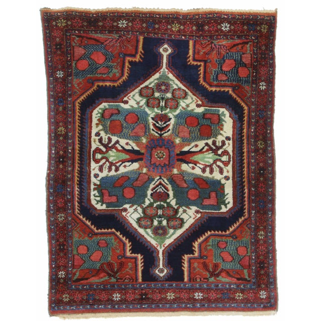 Antique Hand Knotted Wool Persian Baktiari With Very Unique Design, Handmade in Iran (Persia).