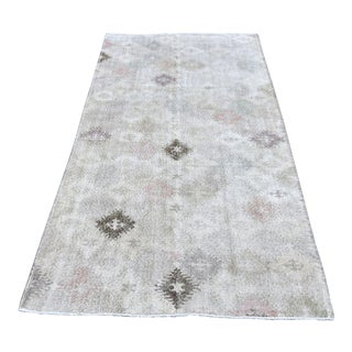 Vintage Turkish Anatolian Hand Knotted Muted Beige Wool Rug - 4′3″ × 10′