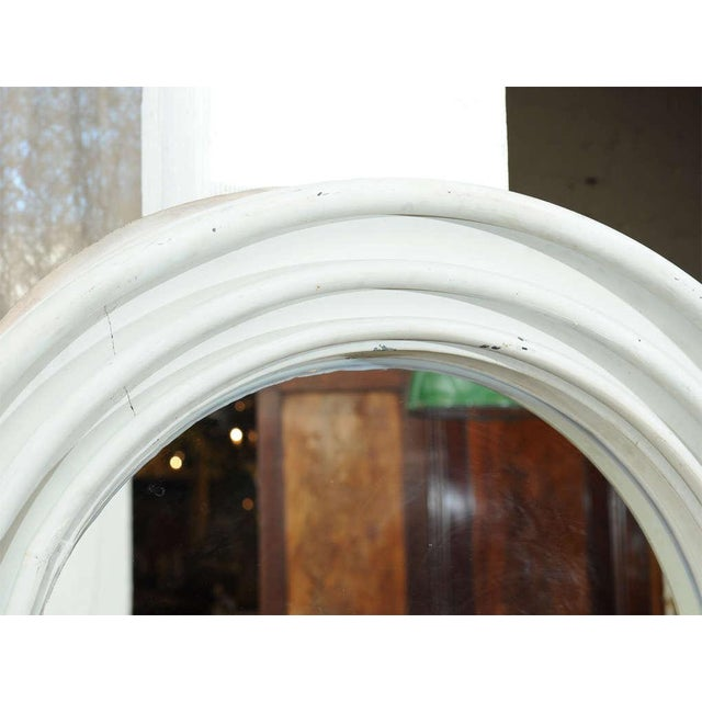 Metal Round Painted Zinc Architectural Element With Mirror For Sale - Image 7 of 8