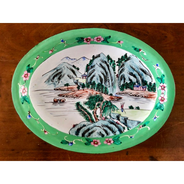 1930s Chinese Canton Hand-Painted Enamel Oval Dish With Mountain Scene For Sale In Charleston - Image 6 of 6