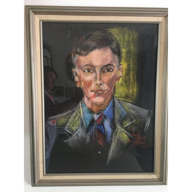 Chalk Mid-Century Portrait of a Man Signed For Sale - Image 7 of 7