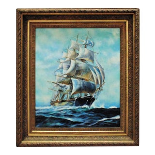 Early 20th Century Antique Clipper Ship Seascape Oil on Canvas Painting For Sale