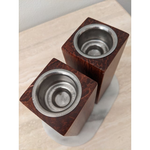 Organic Modernist Minimalist Wood Block Tealights, a Pair For Sale In Dallas - Image 6 of 10