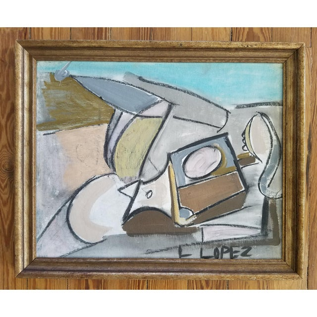 Abstract 1980s L Lopez Abstract Figurative Painting For Sale - Image 3 of 3