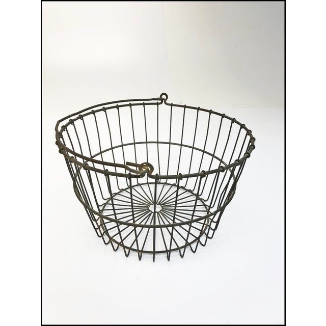 Vintage Rustic Wire Metal Egg Basket With Handle For Sale - Image 10 of 10