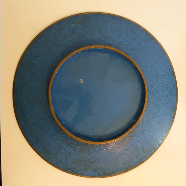 1980s Large Turquoise Bird Platters - a Pair For Sale - Image 5 of 6