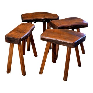 Four Belgian Oak Stools For Sale
