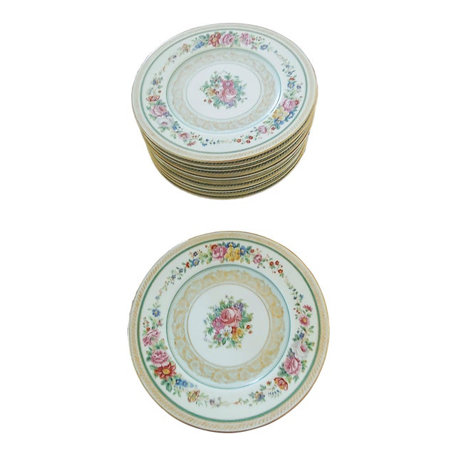 Vintage Early 19th Century Charles Ahrenfeldt Limoges Service Plates - 12 Pieces For Sale