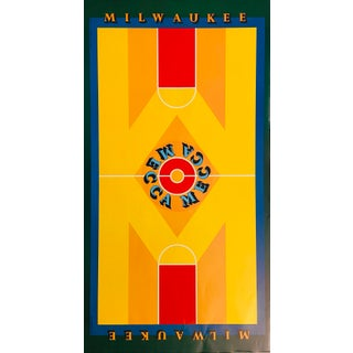 1970s Milwaukee-Mecca Poster, Features the Painting Done for the Basketball Court For Sale