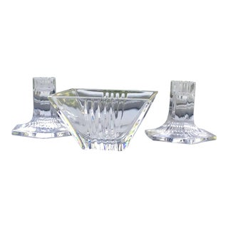 1990s Vintage Tiffany & Co. Crystal Candy Bowl & Candleholders - Set of Three For Sale