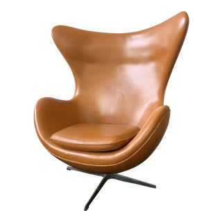 1970s Vintage Brown Leather Egg Chair For Sale