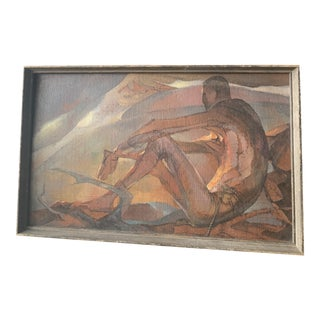 """1950s """"Afternoon Image"""" Abstract Nude and Sunset Landscape Oil Painting by Lou Rogers, Framed For Sale"""