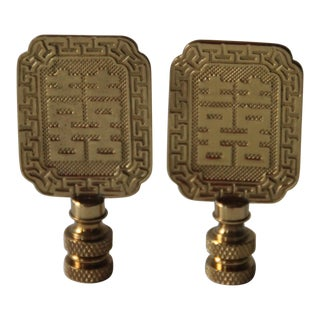Asian Style Brass Lamp Finials - A Pair