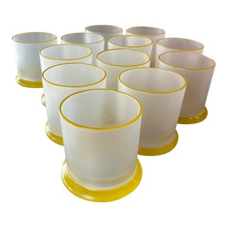 Vintage Frosted Yellow Glass Bar Cocktail Drinking Whiskey Glasses -Set of 12 For Sale