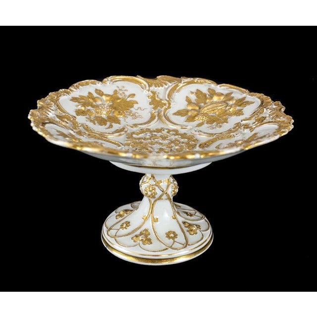 Meissen Germany porcelain gold grape leaf & fruit pedestal bowl compote, circa 1900. Beautiful gilt encrusted accents to...