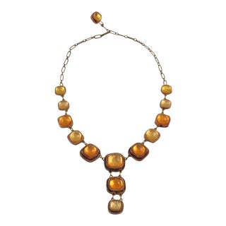 Line Vautrin School Honey Amber Resin Necklace With Pendant For Sale