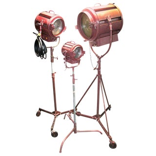 1950s Hollywood Movie Studio Floor Lamps With Stands- Set of 3 For Sale