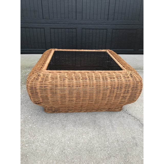 Vintage Mid-Century Modern Boho Chic Wicker Coffee Table For Sale - Image 9 of 11