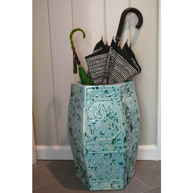 1960s Turquoise Blue Umbrella Stand or Planter - Image 5 of 6