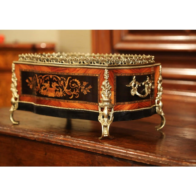 19th Century French Napoleon III Rosewood Planter With Marquetry & Bronze Decor For Sale - Image 4 of 10