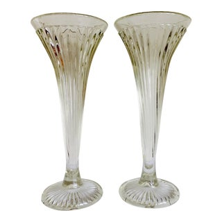19th Century Cast Early American Trumpet Vases Shelf Supports - a Pair For Sale