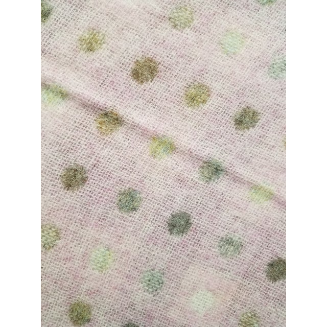 Wool Throw Brown and White Polka Dots on Pink Background - Made in England For Sale - Image 12 of 13