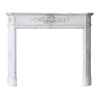 Antique Marble White Fireplace, 19th Century, Louis XVI For Sale