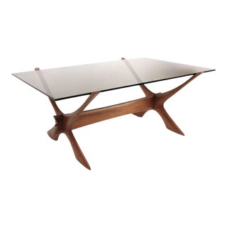 Modern Teak and Smokey Glass X Base Coffee Table by Fredrik Schriever-Abeln For Sale