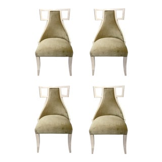 Modern Universal Prototype Champagne Velvet Dining Chairs Set of Four For Sale
