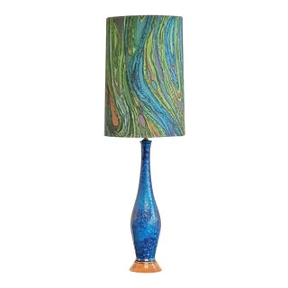 1960s Blue Lava Glazed Table Lamp With Shade For Sale