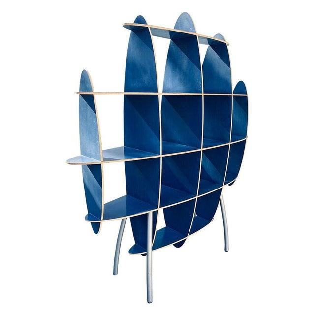 Italian Contemporary Modern Blue Standing Rack/Shelf Unit