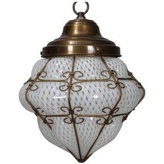 Vintage Venetian Mouth Blown Opalescent Art Glass & Bronze Pendant Light For Sale