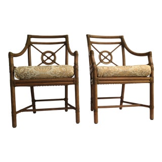McGuire Rattan Arm Chairs W/Fortuny Cushions - a Pair For Sale